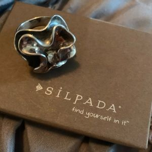 Silpada oxidized sterling silver bloom ring.